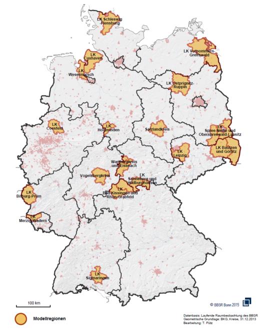 Karte der Projektregionen